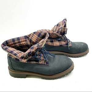 TIMBERLAND Gray Suede Plaid Roll Top Boots